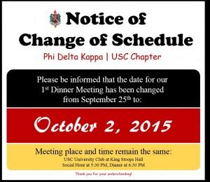 Change of Schedule